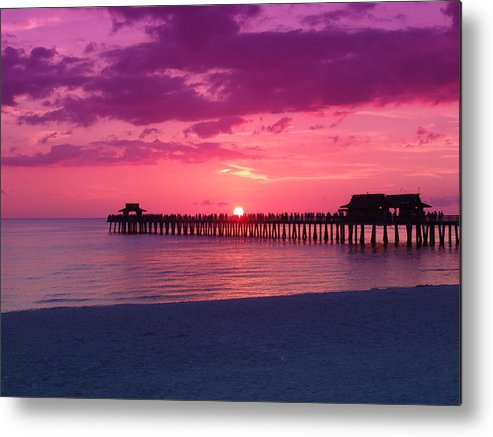 Sunset Metal Print featuring the photograph Hot Purple by Florene Welebny