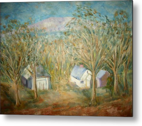 Landscape Mountain Trees Buildings Metal Print featuring the painting House With Overlooking Mountain by Joseph Sandora Jr