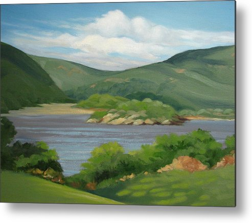 Landscape Metal Print featuring the painting Hudson River by Robert Rohrich