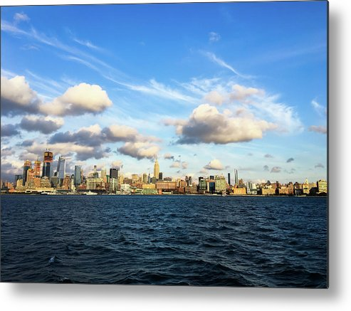 Empire State Building Metal Print featuring the photograph Hudson Waterfront by Vartika Singh