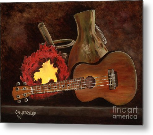 Ukelele Metal Print featuring the painting Hula Implements by Larry Geyrozaga