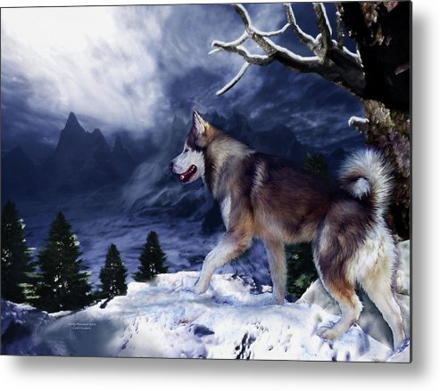 Husky Metal Print featuring the painting Husky - Mountain Spirit by Carol Cavalaris