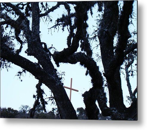Cross Metal Print featuring the photograph Hwy 87 Cross Two by Ana Villaronga