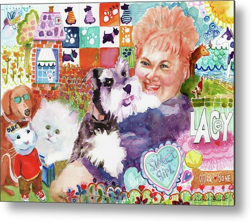 Fluffy Dog Metal Print featuring the painting I Remember Lacey by Deborah Burow