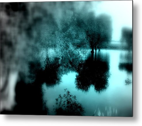 Blue Metal Print featuring the photograph I Riflessi Della Nebbia by Irene Spedicato