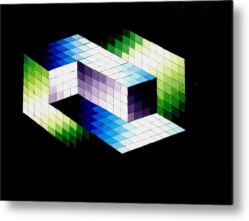 Optical Illusion Metal Print featuring the painting Illusion by Helena Brnadic