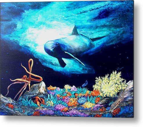 Whale Metal Print featuring the painting Imposing Gaze by Dianne Roberson