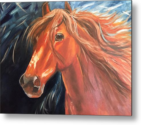 Horse Metal Print featuring the painting In A Hurry by Peggy Hague