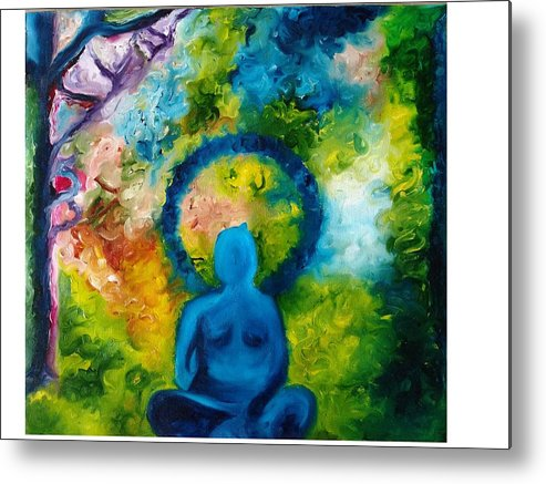 Budddha Metal Print featuring the painting In Abode Of Soul by Varsha Ahirwal