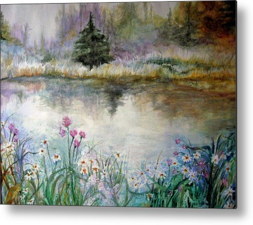 Evergreen Metal Print featuring the painting In The Moment by Mary Sonya Conti