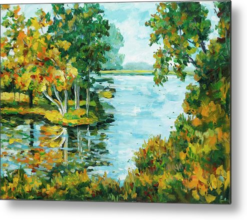 Landscape Metal Print featuring the painting Inlet by Ingrid Dohm