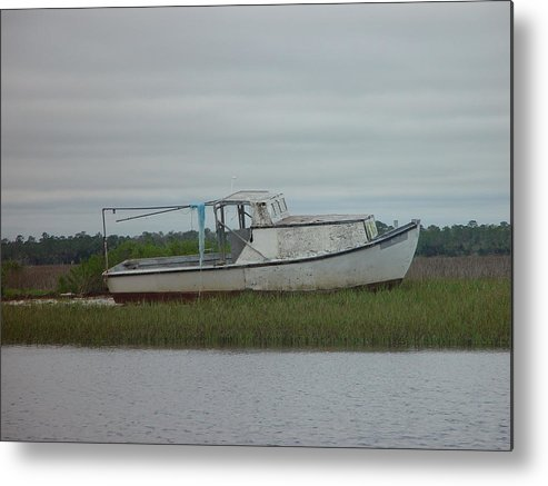 Boat Metal Print featuring the painting Island Boat Two by Debbie May