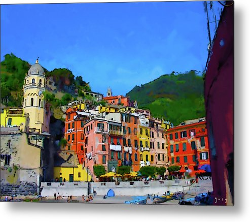 Abstract Photograph Metal Print featuring the digital art Italian Beachside by Gary Hopkins