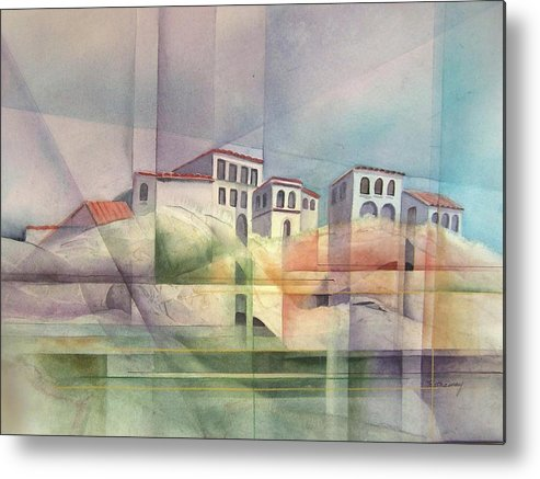 Contemporary Italian Hillside With Buildings. Metal Print featuring the painting Italian Reflections by Shirley Hathaway