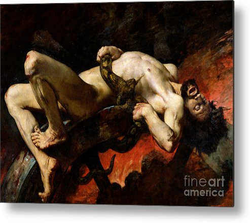 Man Metal Print featuring the painting Ixion Thrown Into Hades by Jules Elie Delaunay
