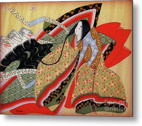 Japanese Art Metal Print featuring the photograph Japanese Textile Art by Eena Bo