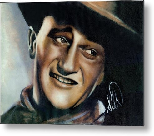 Portrait Metal Print featuring the painting John Wayne by Elizabeth Silk