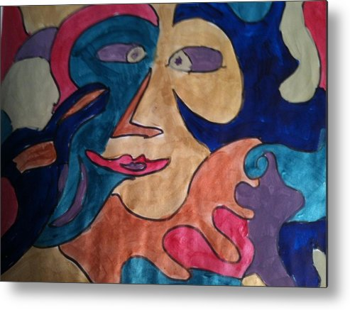 Abstract Metal Print featuring the painting Joker by Jennifer Briggs