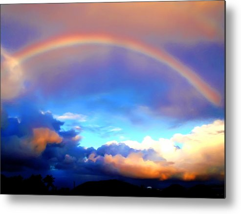 Rainbow Metal Print featuring the painting Jon's Rainbow by Linda Morland