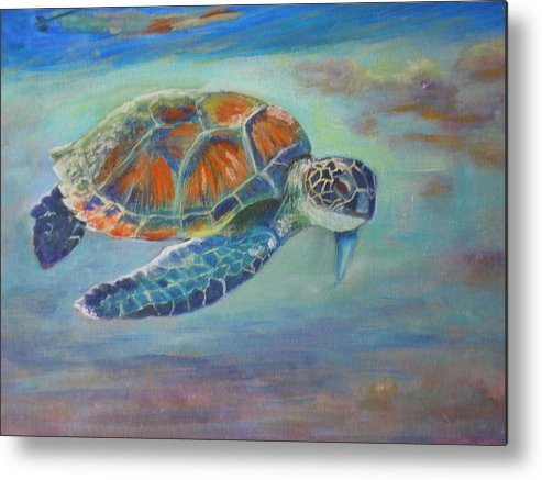 Kauai Metal Print featuring the painting Just Loafin Along by Elizabeth Ferris