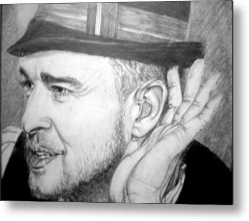 Celeb Portraits Metal Print featuring the drawing Justin Timberlake by Sean Leonard