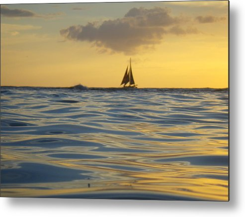 Kaimana Metal Print featuring the photograph Kaimana Golden Sunset by Erika Swartzkopf