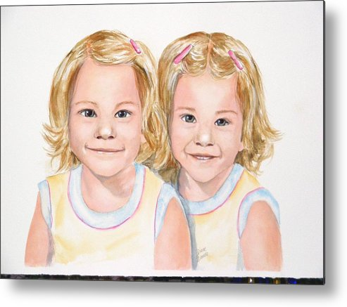 Commissions Metal Print featuring the painting Katy And Kym by Diane Ziemski