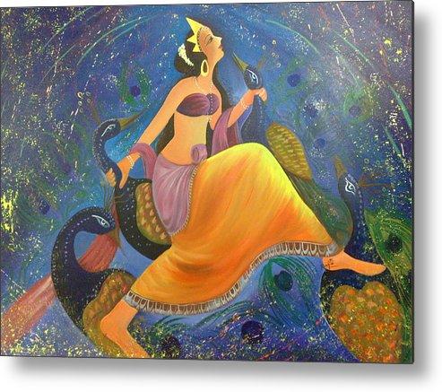 Dancing Metal Print featuring the painting Kaushiki Dance With Peacock by Rajeev Raj