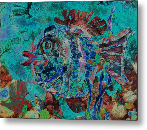 Fish Metal Print featuring the mixed media Kiss Me by Sue Duda