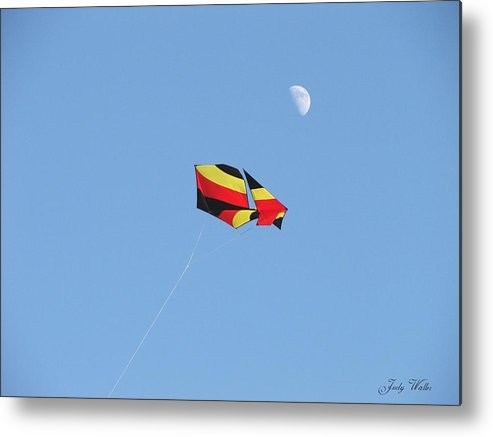Flying Metal Print featuring the photograph Kite And Moon by Judy Waller