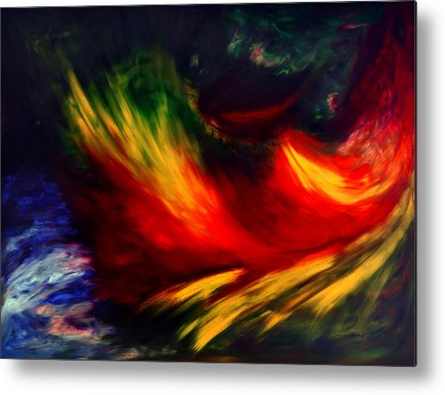 Abstract Metal Print featuring the painting La Fleur Du Paradis by Dominique Boutaud
