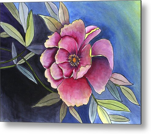 Florals Metal Print featuring the painting La Flora by Mary Gaines