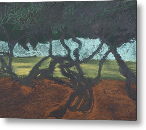 Contemporary Tree Landscape Metal Print featuring the mixed media La Jolla II by Leah Tomaino