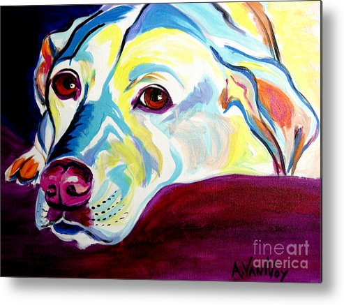 Dog Metal Print featuring the painting Lab - Luna by Alicia VanNoy Call