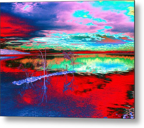 Sea Metal Print featuring the digital art Lake In Red by Helmut Rottler