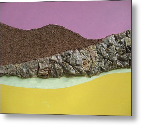 Yellow Metal Print featuring the mixed media Landforms by Gail Hinchen