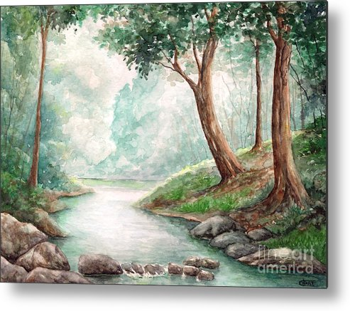 Landscape Metal Print featuring the painting Landscape With River by Enaile D Siffert