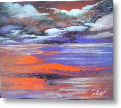Vivid Abstract Expressionistic Landscape Metal Print featuring the painting Lava Lagoon by Jan VonBokel