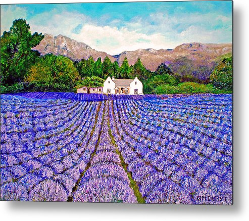 Lavender Metal Print featuring the painting Lavender Fields by Michael Durst
