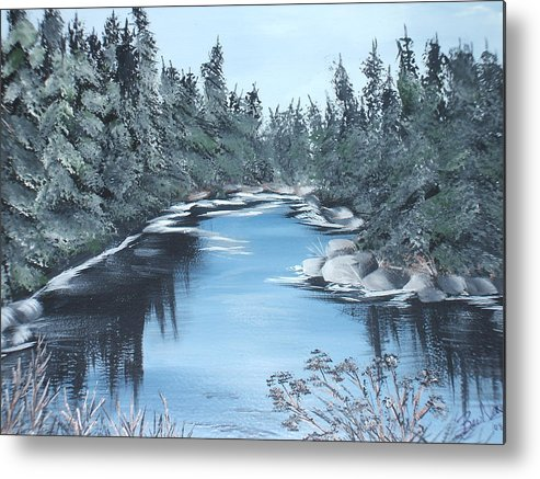 River Quiet Blue Water Rocks Trees Pines Sunny Northen Stream Metal Print featuring the painting Lazy River by Bev Neely