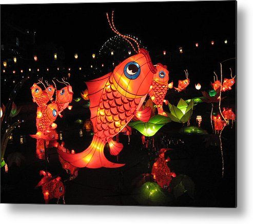Goldfish Metal Print featuring the photograph Leaping Goldfish by Sheri Gundry