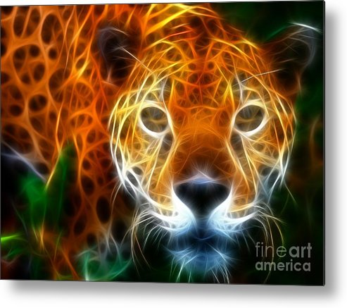 Leopard Metal Print featuring the mixed media Leopard Watching At His Prey by Pamela Johnson