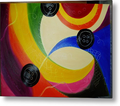 Abstract Metal Print featuring the painting Les Boutons Noirs 2 by Dominique Boutaud