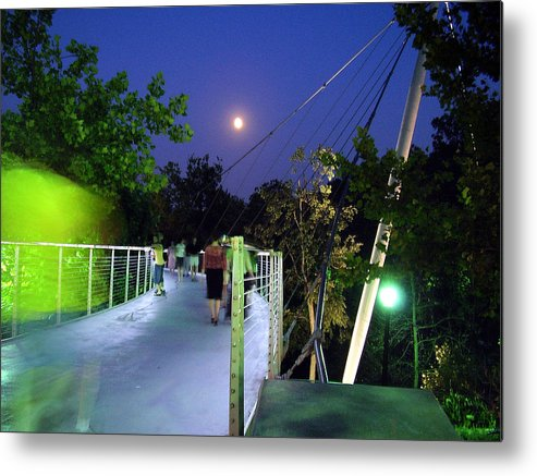 Liberty Bridge Metal Print featuring the photograph Liberty Bridge At Night Greenville South Carolina by Flavia Westerwelle