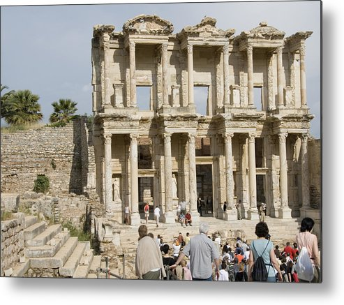 Ephesus Metal Print featuring the photograph Library Ruins At Ephesus Turkey by Charles Ridgway