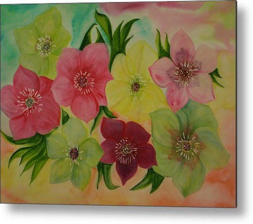 Flowers Metal Print featuring the painting Life In Color by Murielle Hebert