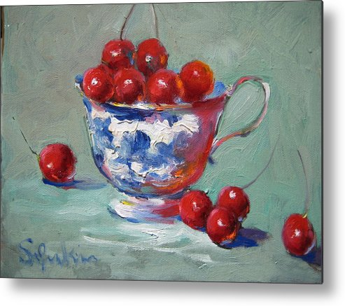 Stilllife Metal Print featuring the painting Life Is Just A Cup Of Cherry by Susan Jenkins