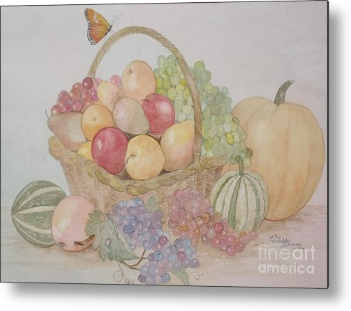 Wicker Fruit Basket Metal Print featuring the painting Life's A Banquet by Patti Lennox