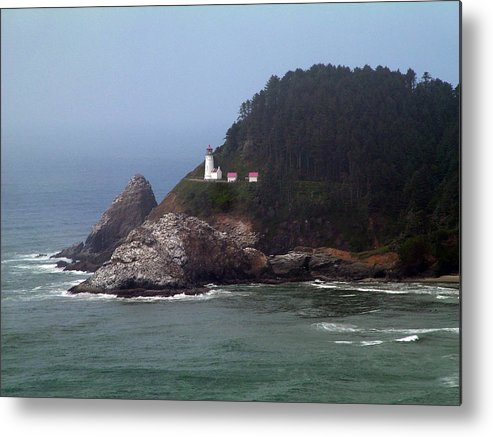 Light House Fog Ocean Trees Metal Print featuring the photograph Light House In Fog by Nick Gustafson