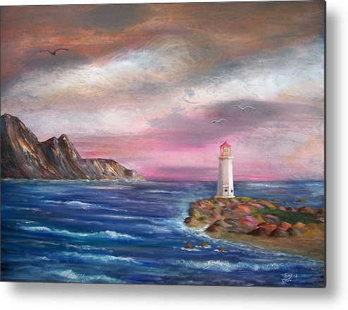 Seascape Metal Print featuring the painting Lighthouse At Sunset by Tony Rodriguez